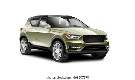 Olive Military Generic SUV Car. Off Road Crossover with glossy surface on white background perspective view with isolated path