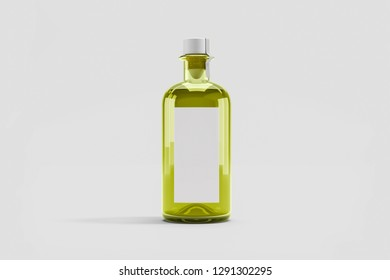 Olive oil Bottle with blank label Mock up isolated on soft gray background. 3D rendering