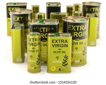 Olive oil can set with abstract label on white background - 3D illustration