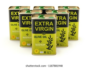 Olive oil cans with abstract label on white background - 3D illustration