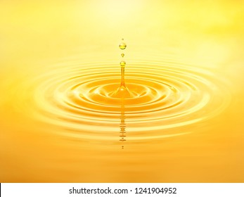 Olive oil drop splash with oil droplets. Minimal liquid oil design background. Skincare, beauty, cosmetic, healthy food and balanced diet concept. 3D illustration