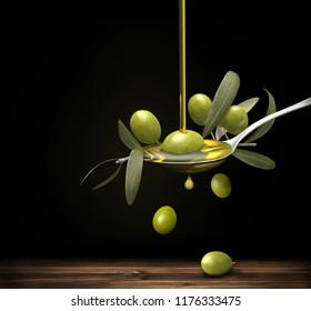 Olive oil jet over a olive branch in a spoon, 3d illustration