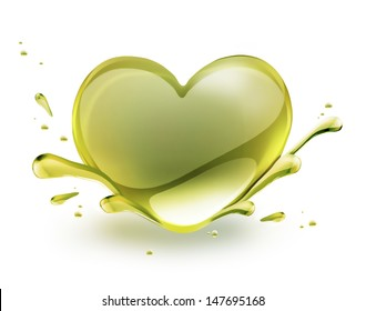 olive oil in the shape of heart on a white background