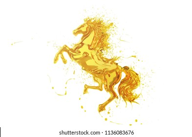 Olive oil Splash or engine oil In the shape of a running horse Show speed and power, 3d illustration.