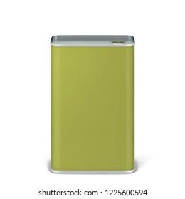 Olive oil tin can package mockup. 3d illustration isolated on white background