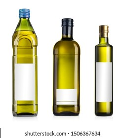 Olive or sunflower oil glass bottles set, on white background 3d illustration