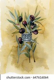 olive watercolor botanical illustration.