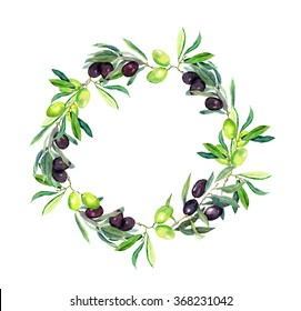 Olives branches (olive tree). Round wreath. Watercolor