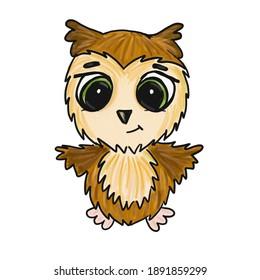 olored raster cartoon brown owlet with big eyes