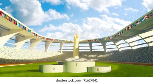 Olympic Stadium with podium for athletes awards