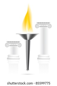 Olympic torch with flame on ionic column background