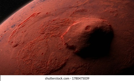 Olympus Mons, volcano on planet Mars, largest volcano in the Solar System (3d science illustration, elements of this image are furnished by NASA)