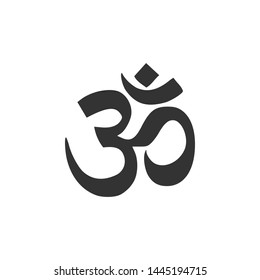 Om or Aum Indian sacred sound icon isolated. Symbol of Buddhism and Hinduism religions. The symbol of the divine triad of Brahma, Vishnu and Shiva. Flat design