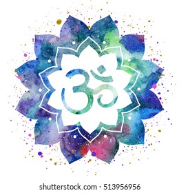 Om Sign In Lotus Flower Vector Isolated Spiritual Buddhist Hindu