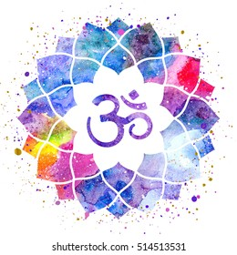 Om sign in lotus flower. Rainbow watercolor texture and splash isolated. Spiritual Buddhist, Hindu symbol