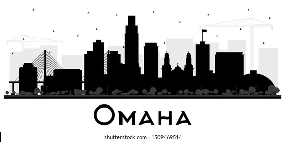 Omaha Nebraska City Skyline Silhouette with Black Buildings Isolated on White. Business Travel and Tourism Concept with Historic Architecture. Omaha USA Cityscape with Landmarks.