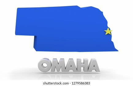 Omaha Nebraska NE City State Map 3d Illustration