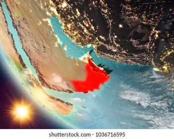 Oman during sunset highlighted in red on planet Earth with clouds. 3D illustration. Elements of this image furnished by NASA.
