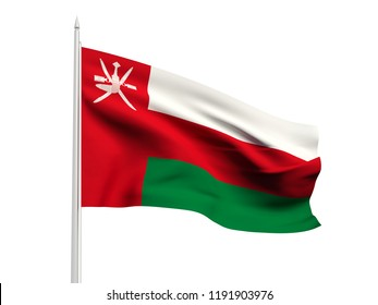 Oman flag floating in the wind with a White sky background. 3D illustration.