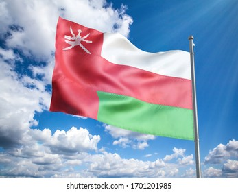 Oman  flag in front of blue sky. 3D illustration