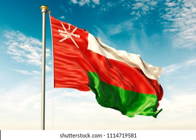 Oman flag on the blue sky with cloud. 3D illustration