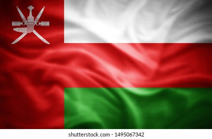 Oman flag of silk -3D illustration