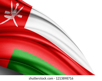 Oman flag of silk with copyspace for your text or images and white background -3D illustration-3D illustration