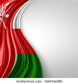 Oman  flag of silk with copyspace for your text or images and White  background-3D illustration