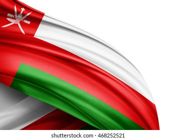 Oman flag of silk with copyspace for your text or images and white background -3D illustration