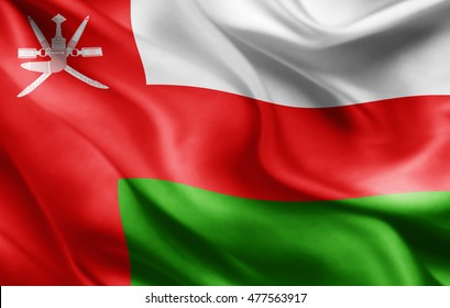 Oman flag of silk-3D illustration
