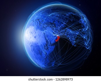 Oman from space on planet Earth with blue digital network representing international communication, technology and travel. 3D illustration. Elements of this image furnished by NASA.