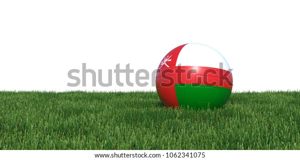 Omani Oman flag soccer ball lying in grass, isolated on white background. 3D Rendering, Illustration.
