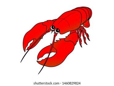 Omar Lobster Seafood Shrimp Character Illustration
