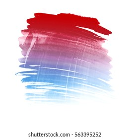 Ombre red and blue colorful texture. Abstract hand drawn watercolor background.