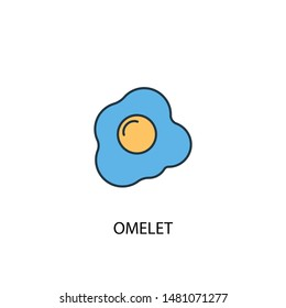 omelet concept 2 colored line icon. Simple yellow and blue element illustration. omelet concept outline symbol design