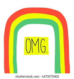 OMG Oh my god hand drawn lettering, hand written quote for surprise, excitement, disbelief. Modern calligraphy under flat rainbow drawing. Typography for social media content, blog, poster, card