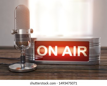 On the air. Old  microphone with vintage signboard On air on the wooden table. Broadcasting radio station concept. 3d illustration