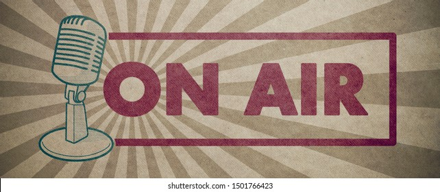 On air sign with vintage microphone, broadcasting and communications concept