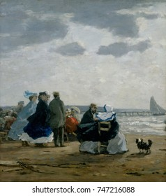 On the Beach, Dieppe, by Eugene Boudin, 1864, French impressionist painting, oil on wood. Boudin was a marine painter and one of the first French landscape artist to paint outdoors