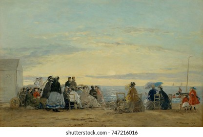 On the Beach, Sunset, by Eugene Boudin, 1865, French impressionist painting, oil on wood. Boudin built a steady clientele for his beach paintings, as railroad borne tourists flocked to the Normandy co