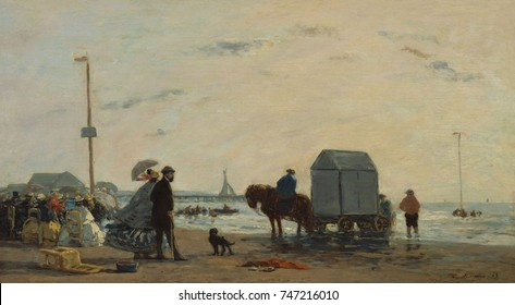 On the Beach at Trouville, by Eugene Boudin, 1863, French impressionist painting, oil on wood. The portable cabana, a place to change into bathing suits, served the more active tourists
