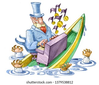on a boat that is sinking with people that drown a rich continuous to play a piano notes sorts of coins allegory of the irresponsibility of the finance political cartoon pencil draw