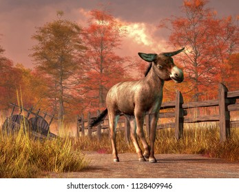On a bright autumn day, a donkey with floppy ears does a little dance for you on a country dirt road that runs by an old abandoned cart. Alongside the road runs an old wooden fence. 3D Rendering