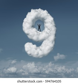 On cloud nine idiom concept as a person or businessman standing in triumph on a floating cloud shaped as a symbol of success as a psychological state of mind with 3D illustration elements.