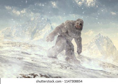 On a cold plain backed by jagged mountains a shaggy white beast trudges through the snow.  Covered in long white hair and walking upright, this is the yeti, the abominable snowman. 3D Rendering