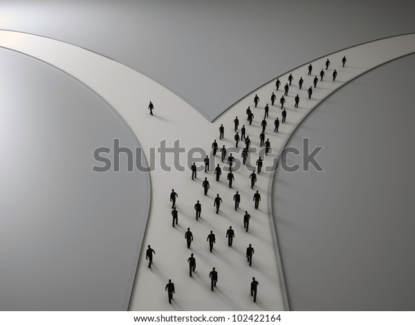 On the crossroads - tiny people choosing their pathway