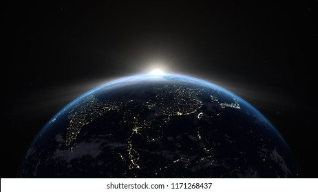 On Earth is 3D illustration Background for advertising and wallpaper in space. Also good background for scene and concept. 3D rendering in Blender