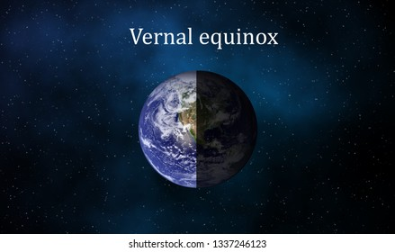 On the equinoxes the Sun shines directly on the equator and the length of day and night is nearly equal but not quite. Element of this image furnished by NASA.