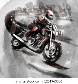 On the highway, motorcycle rider - An hand drawn illustration - Digital painting. An person riding a bike.