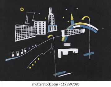 On Kandinsky's motives, landscape with modern arthitecture
